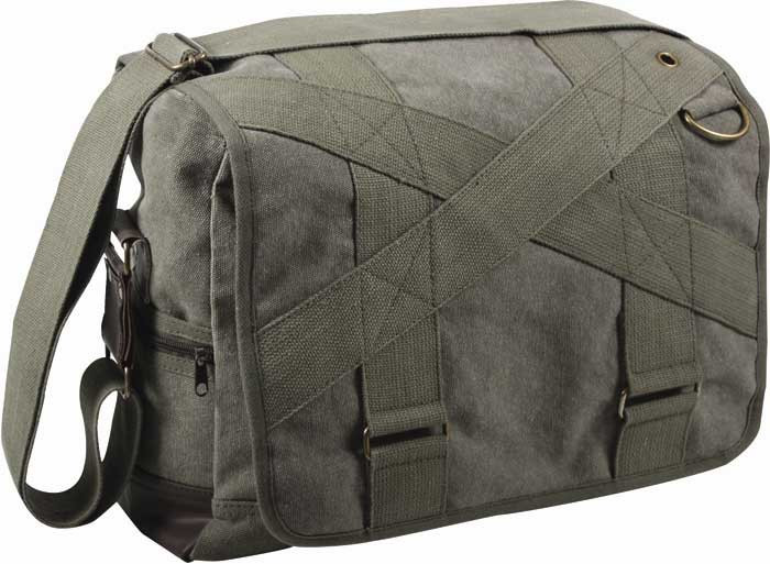 Olive Drab Vintage Military Canvas Outback Messenger Shoulder Bag 3614a7b82e5