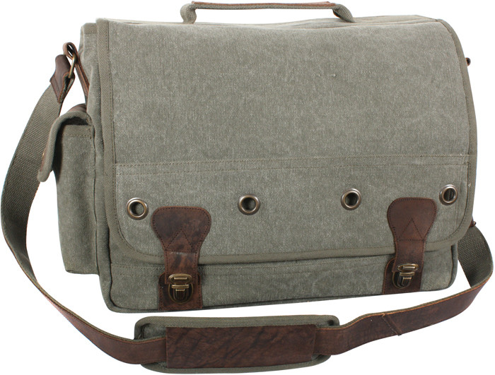 Olive Drab Tactical Military Trailblazer Laptop Bag With Leather Accents a5c3ce6b852