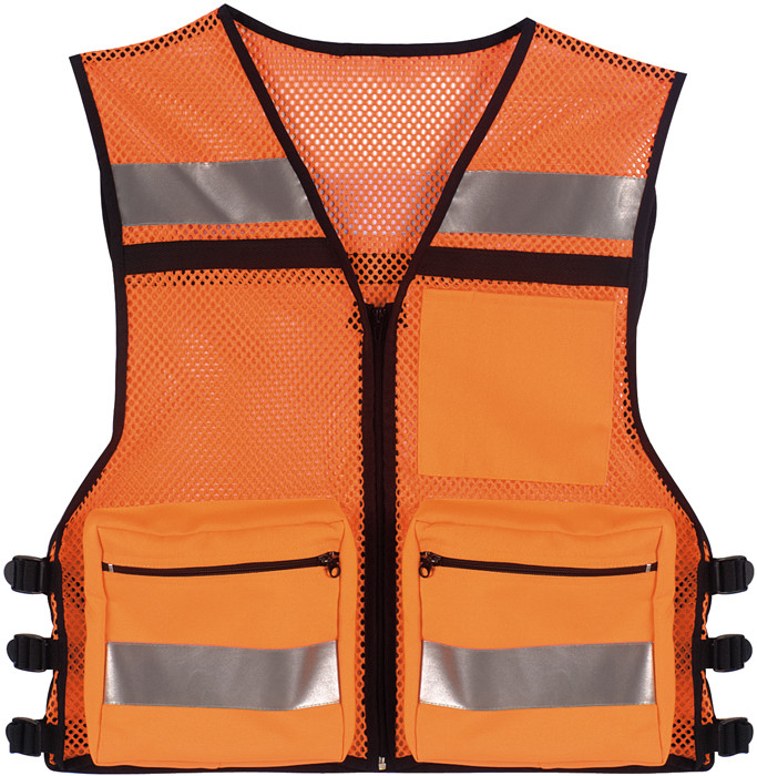 Safety Orange High Visibility Mesh Safety Vest w  Reflective Stripes 3fb727ec064