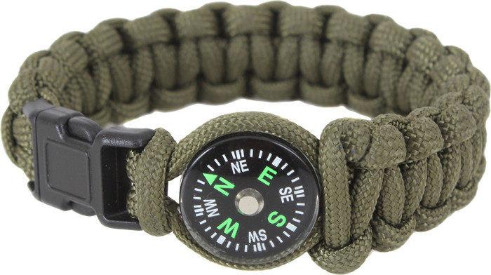 Olive Drab Survival Paracord Cobra Bracelet w  Buckle   Compass 410d51606e5