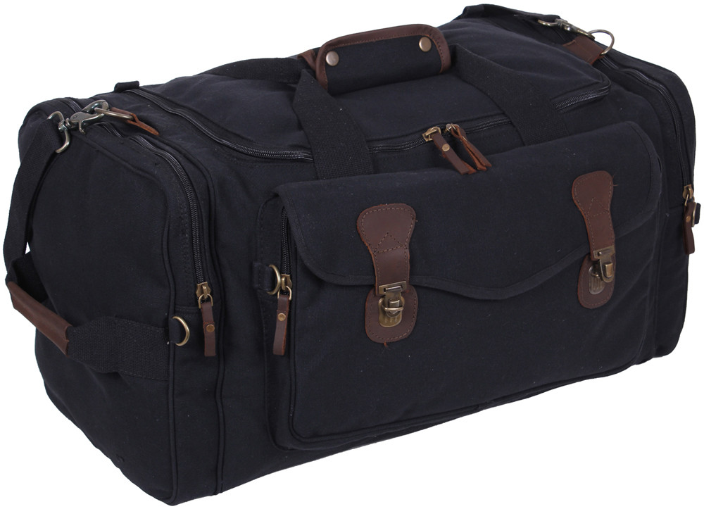 Black Extended Stay Canvas Weekend Travel Shoulder Duffle Bag eed100c8faa