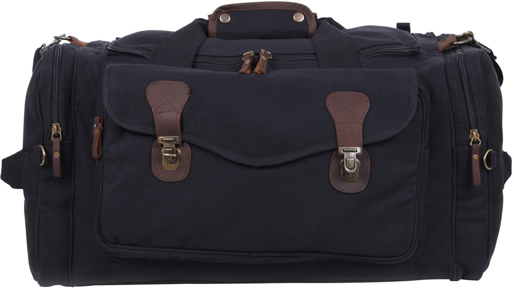 Black Extended Stay Canvas Weekend Travel Shoulder Duffle Bag 101614d6154