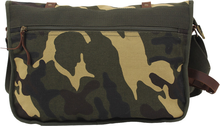 Woodland Camouflage Military Canvas Messenger Shoulder Bag With Leather  Accents a6c53e57110