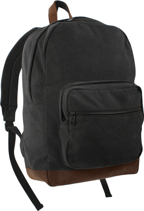More Views. Black Military Canvas Tactical Teardrop Backpack With Leather  Accents 97ff5f864be
