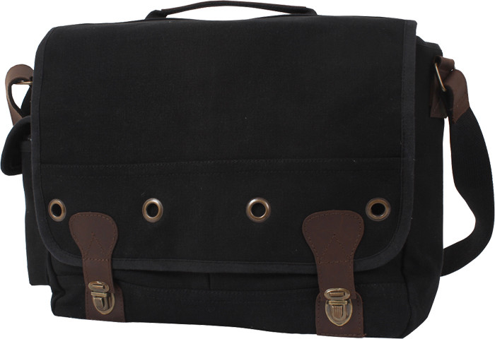 Black Tactical Military Trailblazer Laptop Bag With Leather Accents a4417e66901