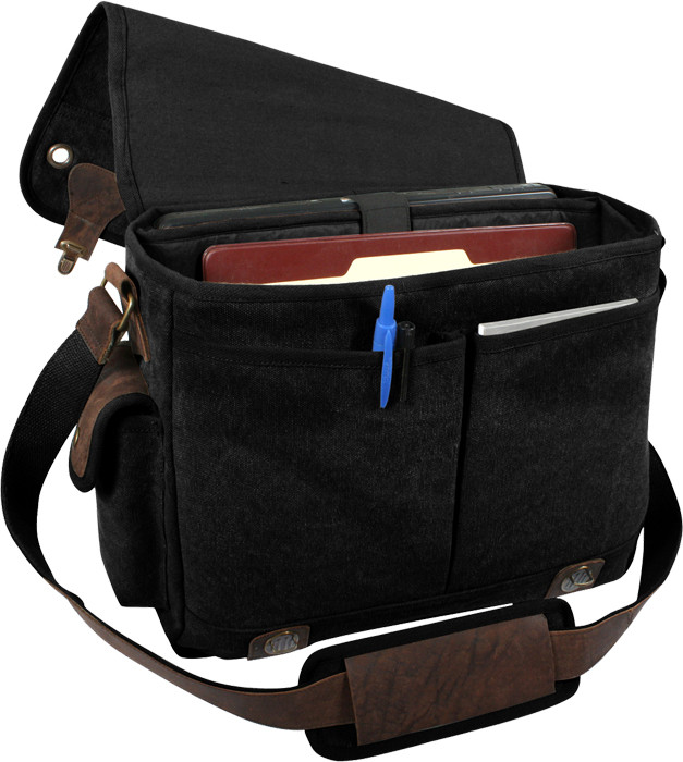 Black Tactical Military Trailblazer Laptop Bag With Leather Accents 9a03a85d284