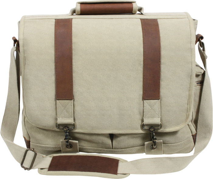 Khaki Vintage Military Canvas Laptop Shoulder Bag With Leather ... 7d460117d42