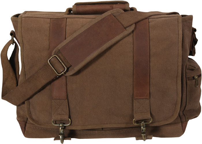 Earth Brown Vintage Military Canvas Laptop Shoulder Bag With ... e93f7af0ef6