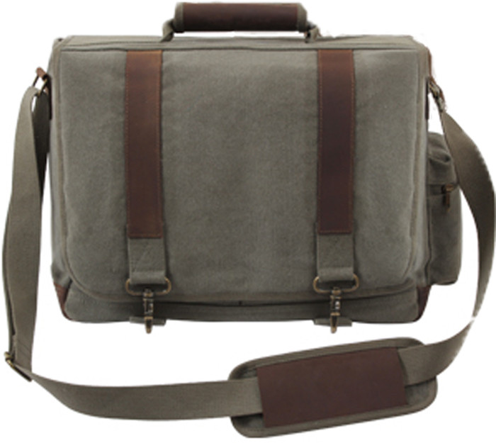 Olive Drab Vintage Military Canvas Laptop Shoulder Bag With Leather ... c8a0a52bb24