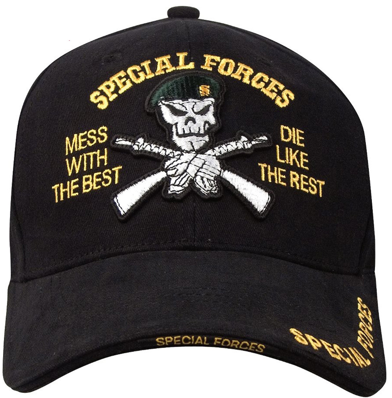 07e769048b9 More Views. Black Deluxe Special Forces Green Beret Low Profile Adjustable  Cap