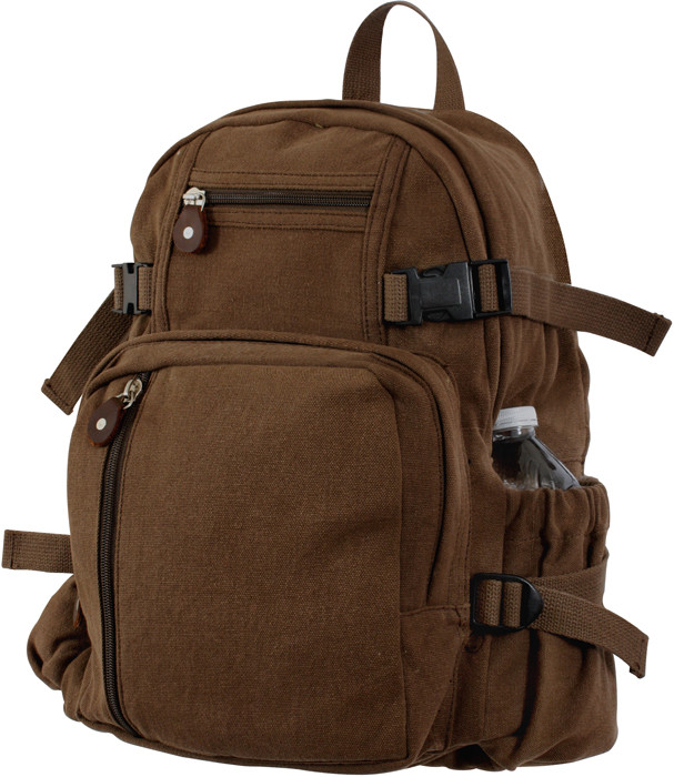 Earth Brown Vintage Military Canvas Mini Backpack 0ed4bec214e
