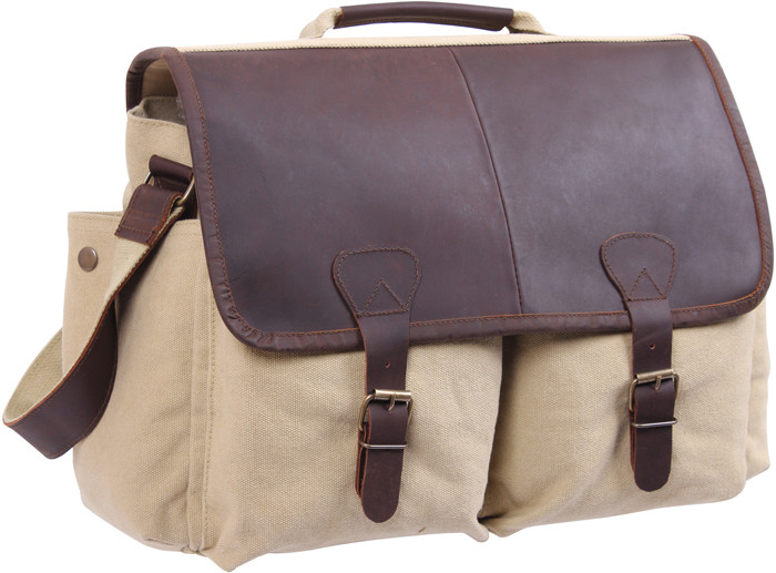 More Views. Khaki   Brown Vintage Military Messenger Bag w  Leather Accents f0ed4cd0457