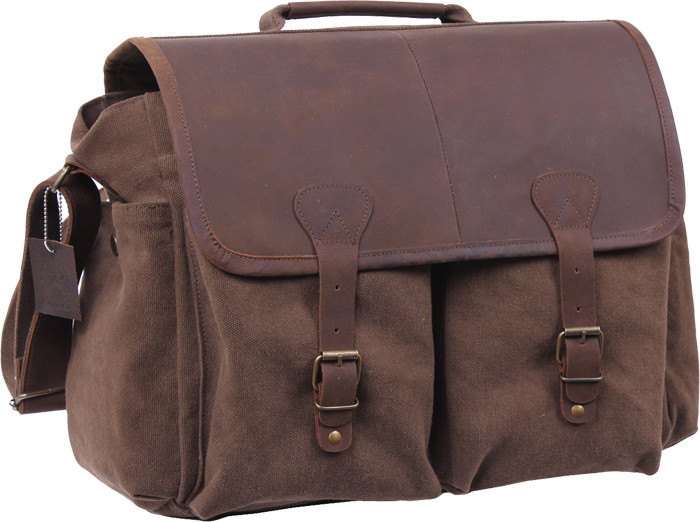 Brown Vintage Military Messenger Bag w  Leather Accents 3dd16cba236