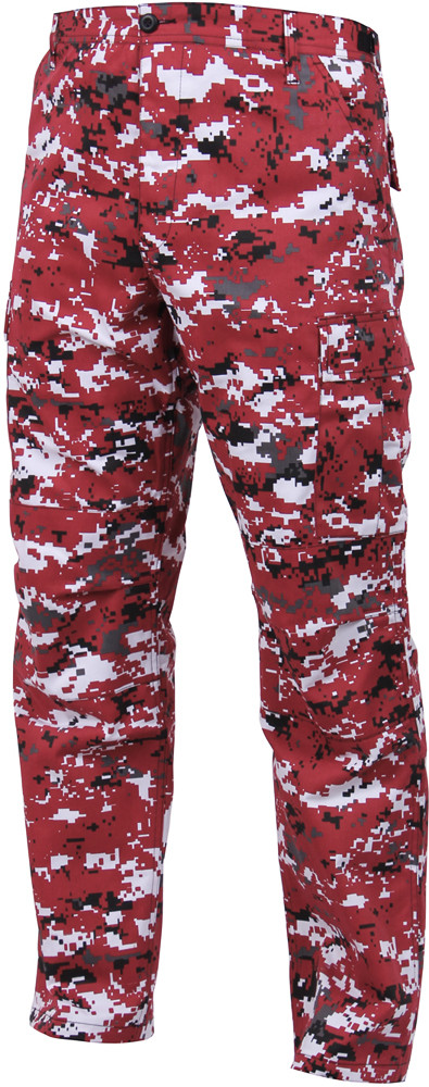 Red Digital Camouflage Military Cargo Bdu Fatigue Pants