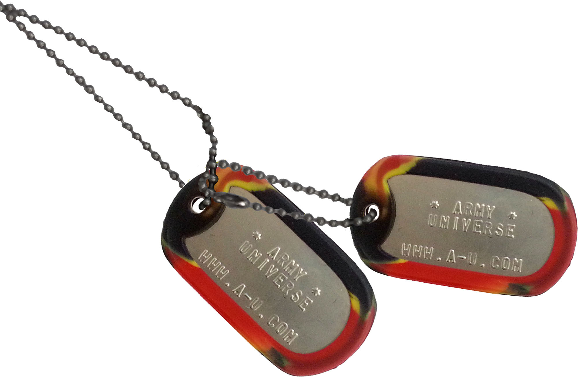 Matte Custom Embossed Stainless Steel Dog Tags w  Silencers   Chains 8e67842e15d
