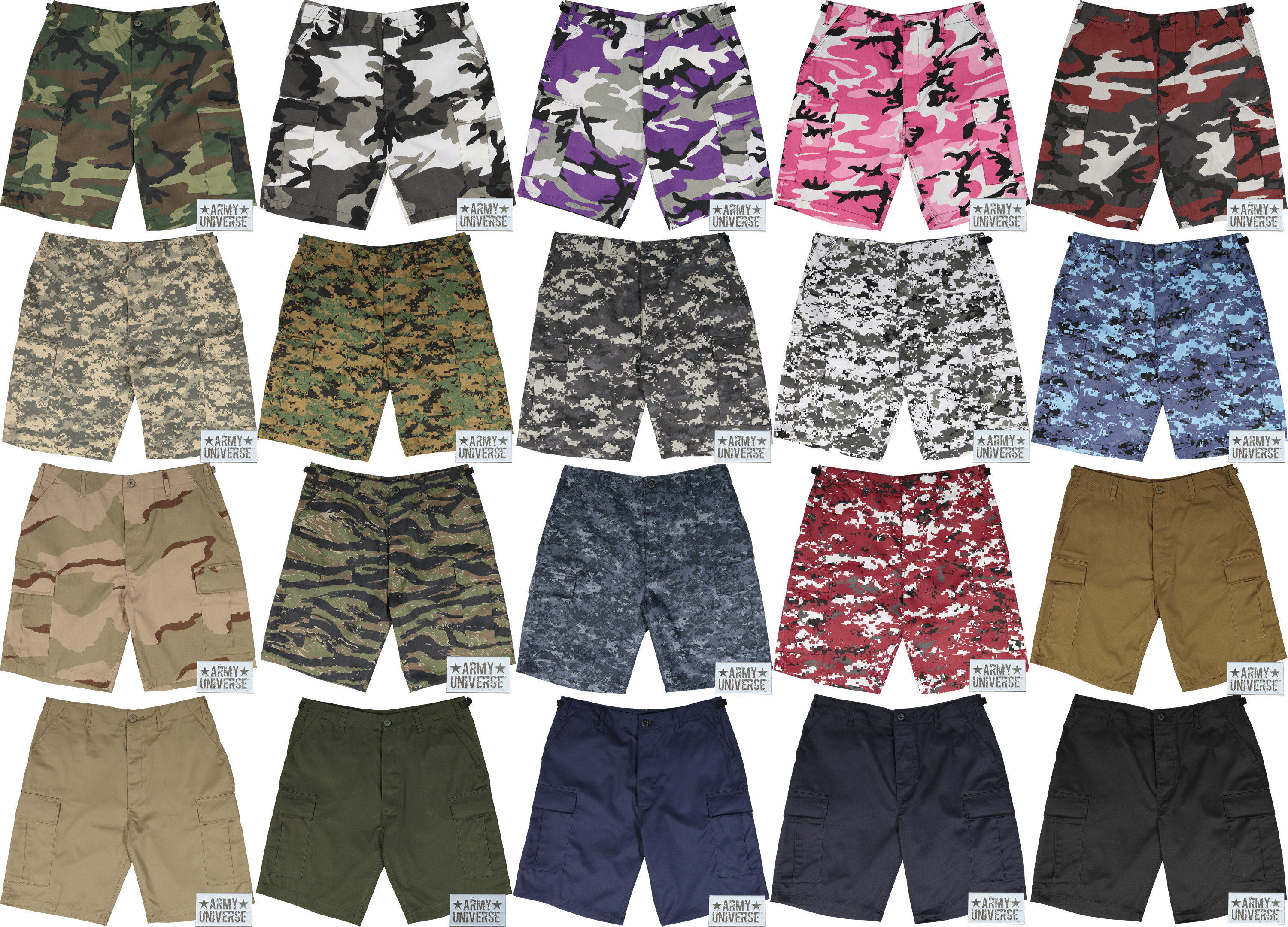 More Views. Camouflage Tactical 6 Pocket Cargo BDU Shorts w  ARMYUNIVERSE®  Pin b421c83b39d