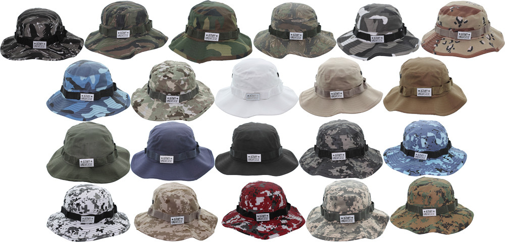 83b25f470907b Camouflage Hunting Fishing Wide Brim Boonie Bucket Hat with ARMY ...