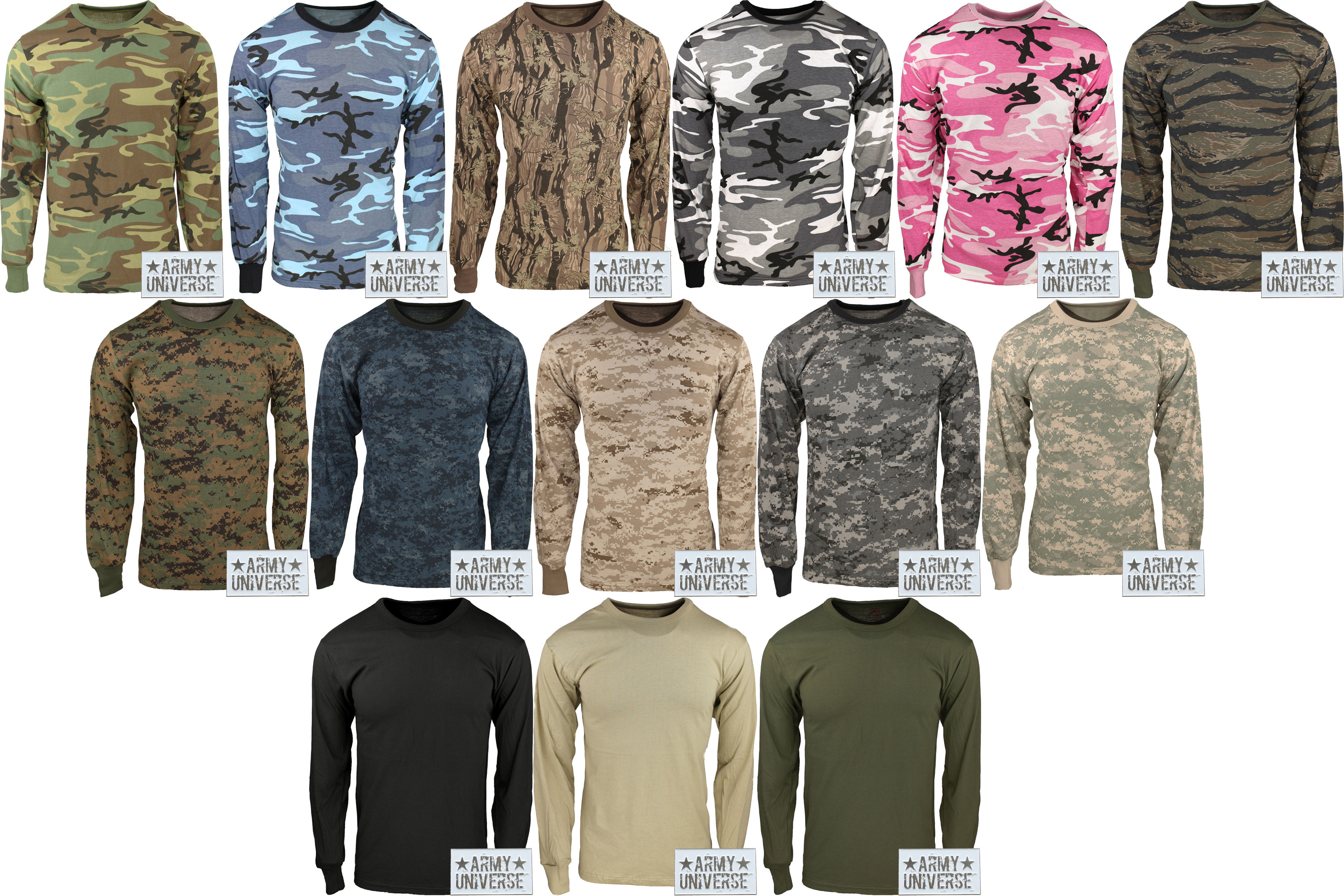 Camouflage Military Crewneck Long Sleeve T Shirt w  ArmyUniverse ... ac173adbc1