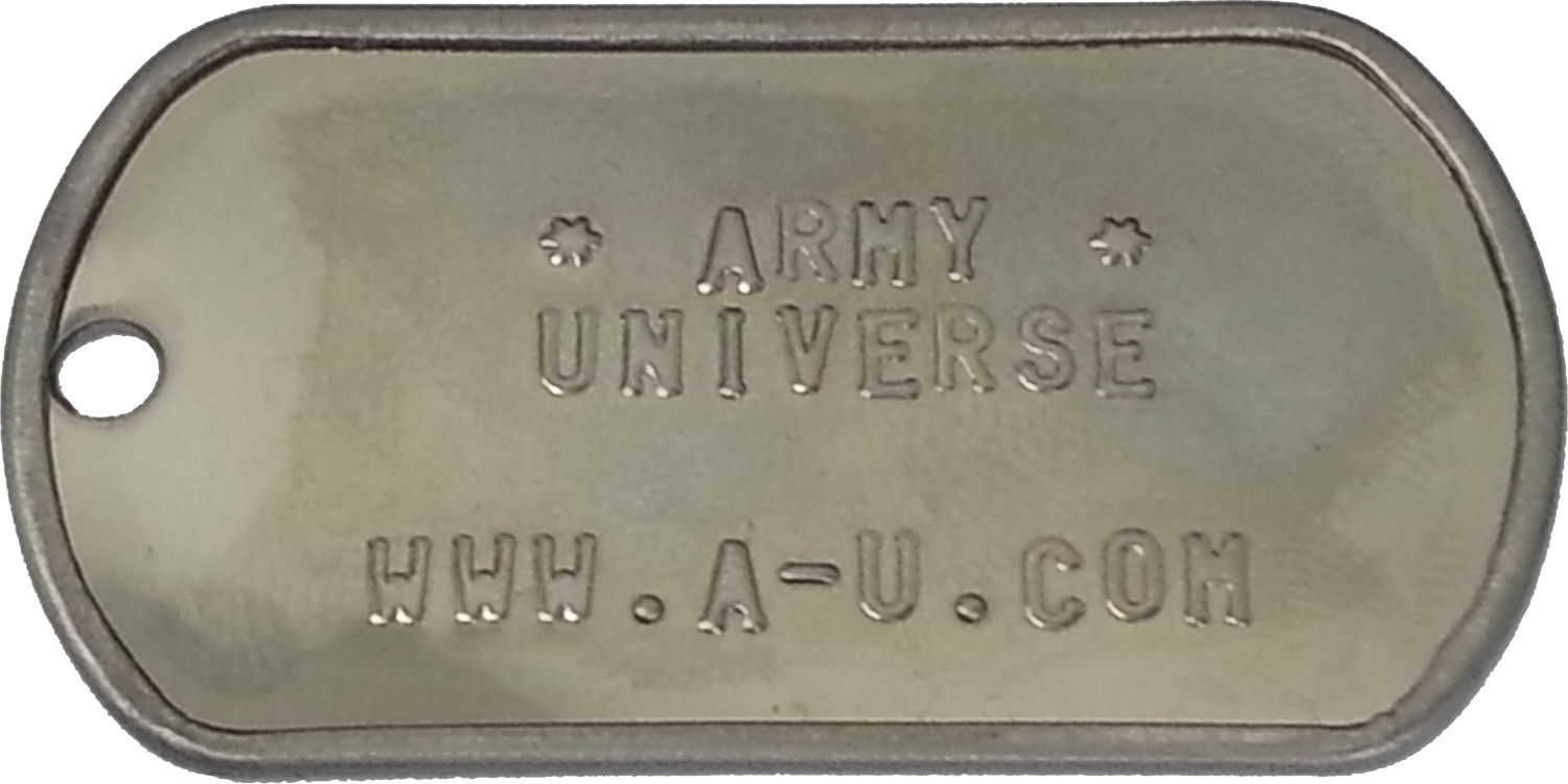 More Views. Shiny Custom Embossed Stainless Steel ID Tag Military ... 0150f1052c9