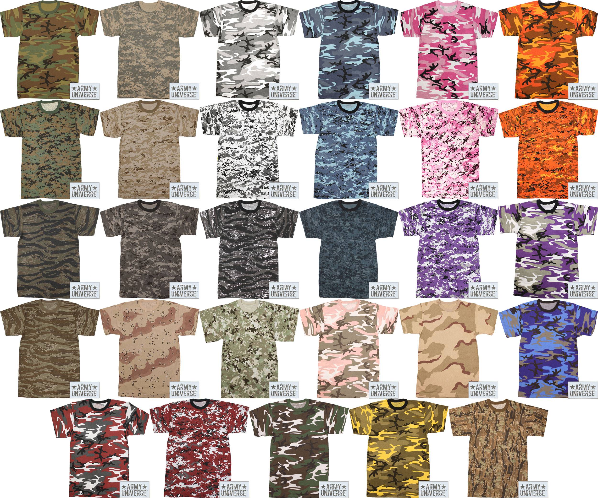 Camouflage Military Crewneck Short Sleeve T Shirt w  ArmyUniverse® Pin df8f04b9242