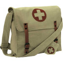 Khaki Vintage Medic Red Cross Canvas Shoulder Bag