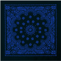 "Black & Royal Blue Trainmen Cotton Paisley Sport 22"" x 22"" Bandana Biker Headwrap"