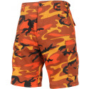 Orange Camouflage Cargo Military BDU Shorts