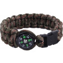 Woodland Camouflage Survival Paracord Cobra Bracelet w/ Buckle & Compass