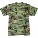 Woodland Camouflage Military Short Sleeve T-Shirt w/ Chest Pocket