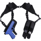 Black Ambidextrous Shoulder Holster with Magazine Pouches