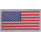 "Red White Blue American US Flag White Border Hook Patch 1 7/8"" x 3 3/8"""