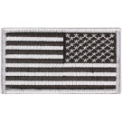"Silver REVERSE American US Flag Hook Patch 1 7/8"" x 3 3/8"""