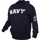 Navy Blue Military Navy Pullover Warm Fleece Hooded Sweatshirt