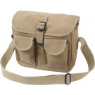 Khaki Military Canvas 2 Pocket Ammo Shoulder Bag