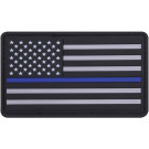 Thin Blue Line PVC US Flag Hook Back Patch