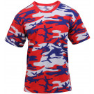 Red White Blue Camouflage Military Short Sleeve T-Shirt