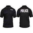 Black Moisture Wicking POLICE Polo Golf Shirt