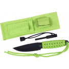 "Paracord Knife 3.5"" Blade with Fire Starter & Sheath - Safety Green"