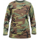 Womens Woodland Camouflage Long Sleeve Long Length Military T-Shirt