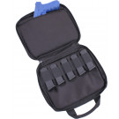 Black Double Pistol Gun & Ammo Pouch Carry Case