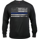 Black Thin Blue Line Support The Police Distressed American Flag Long Sleeve T-Shirt