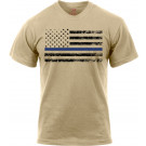 Desert Sand Thin Blue Line Police Black Distressed US Flag T-Shirt