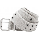 White Vintage Military Pistol Belt With Double Prong Buckle
