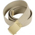 Khaki Military Web Belt with Brass Buckle