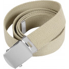 "Khaki Military Web Belt with Chrome Buckle (54"")"