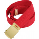"Red Military Web Belt with Brass Buckle (54"")"