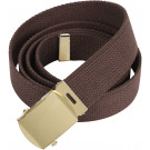 Brown Military Web Belt with Brass Buckle