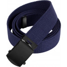 Navy Blue Military Web Belt with Black Buckle