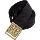 "Black Military Cotton Web Belt & Brass Open Face Buckle - 54"" Long"