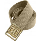 "Khaki Military Web Belt & Brass Open Face Buckle - 54"" Long"